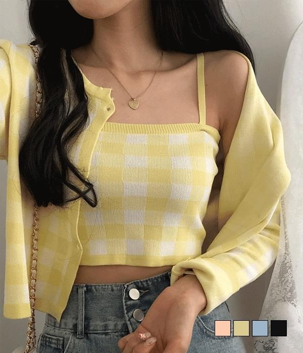 Water Check Sleeveless Cardigan Set (Delayed delivery)