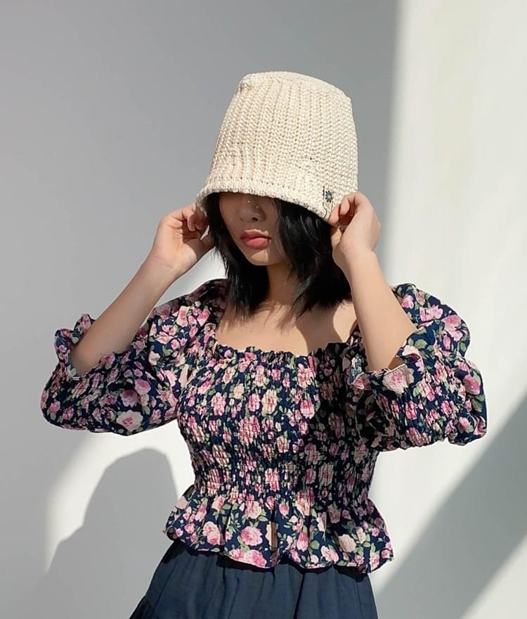 Floral Patch Knit Bucket Hat