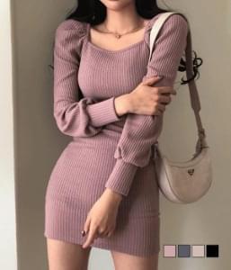 NB Square Puff Mini Knit Dress