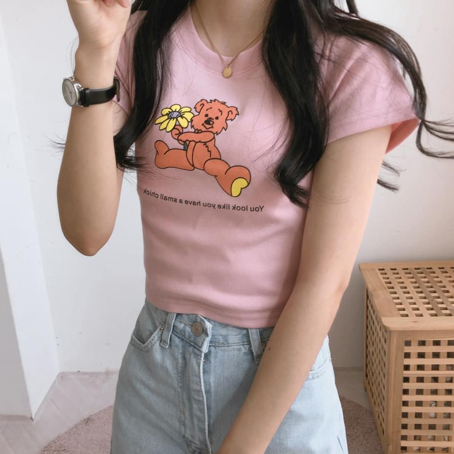 Flower bear cropped short-sleeved T-shirt