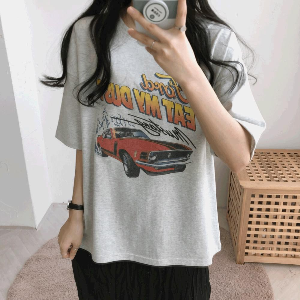 Car graphic short sleeve T-shirt