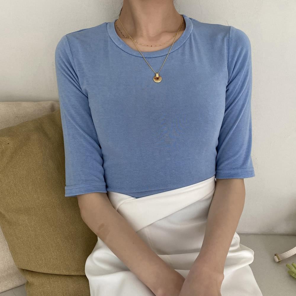 Sherbet slim cropped short-sleeved T-shirt