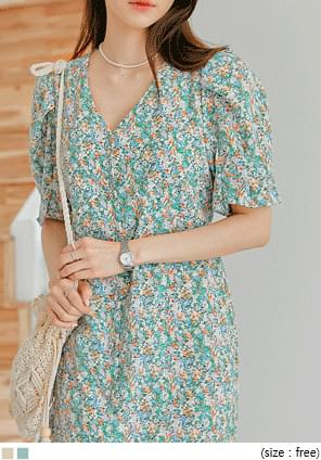 Floral V-Neck Long Dress