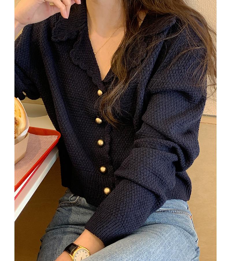Daisy waffle crop cardigan