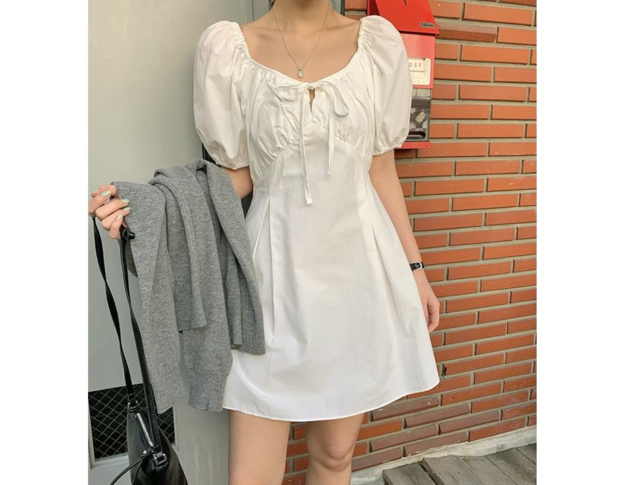 Rosy Shirring Puff Mini Dress