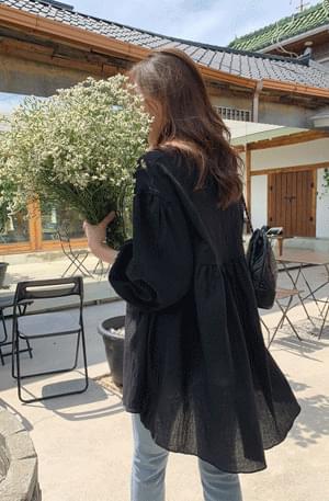 Marang Black Shirring Long Blouse