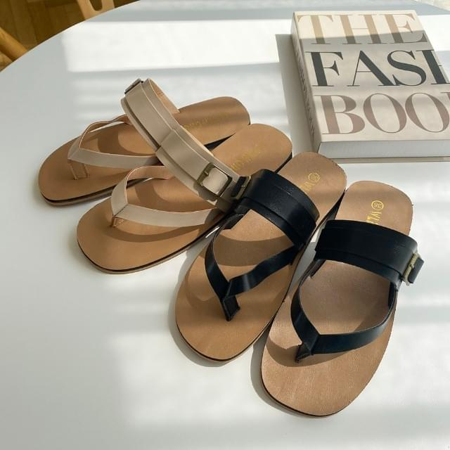 Unique Buckle Pleated Slippers