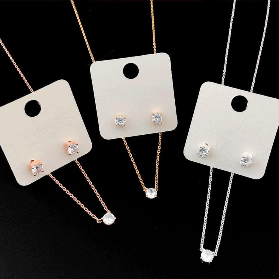92.5 silver mini cubic necklace