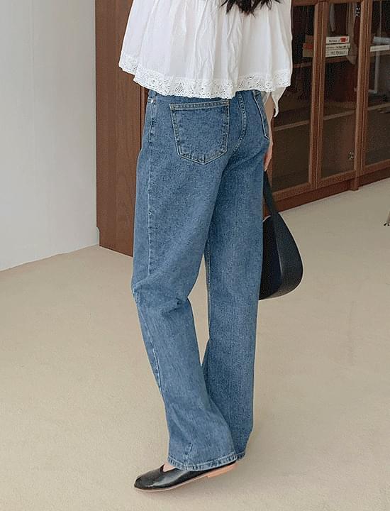 韓國空運 - Elin Dark Blue Wide 牛仔褲