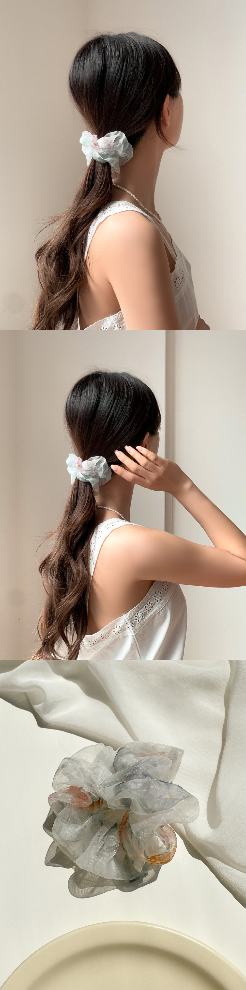 Flower chiffon hair giblets band