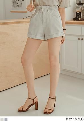 High Waist Cuffed Mini Shorts