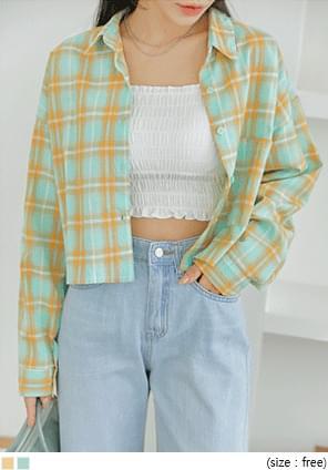 Check Boxy Cropped Shirt
