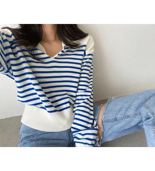 Striped Collar Knitwear #108994