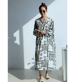 Antique V-Neck Long Dress #37881