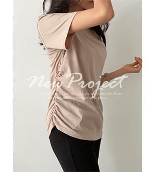 Side Shirred Short Sleeve T-Shirt #109001