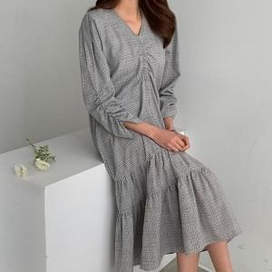 Flare Shirring Line Long Dress #37840