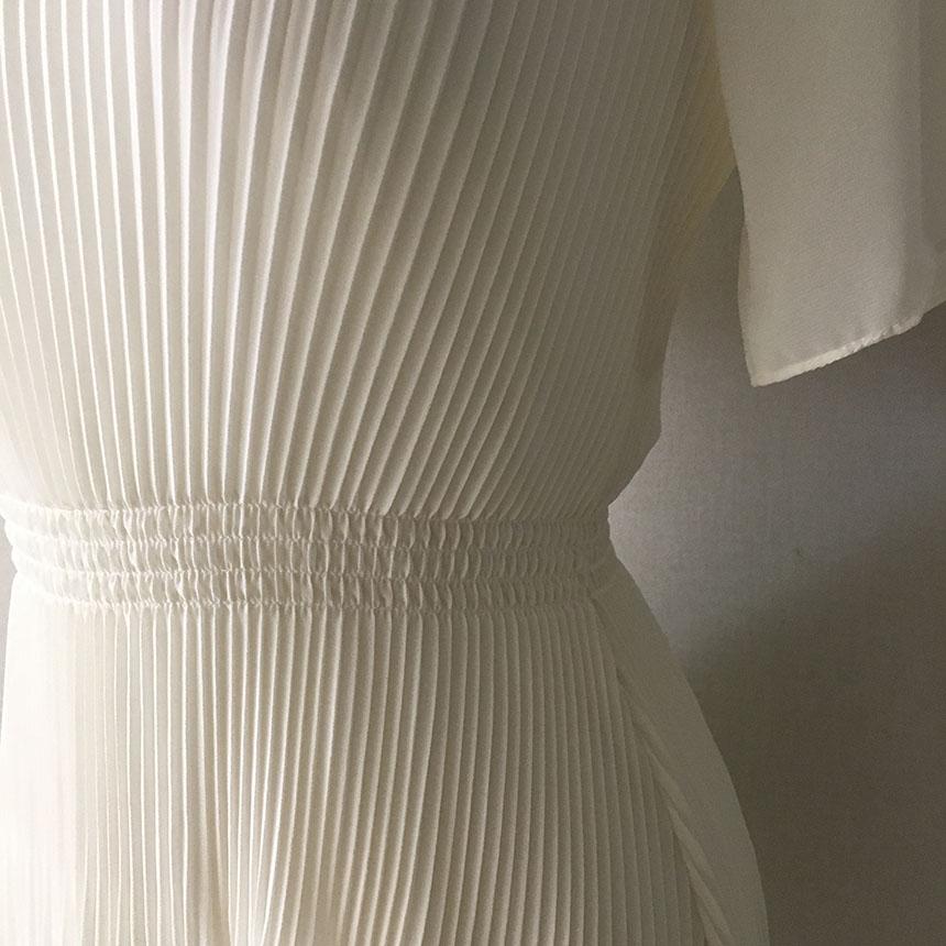 Thin pleated pleated chiffon short sleeve mini Dress