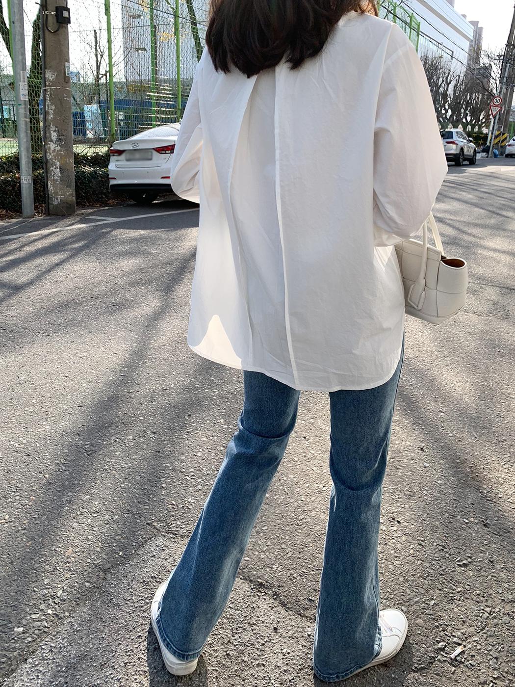 Clean White Back Pin Tuck Pocket Shirt