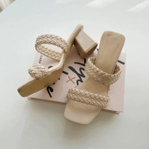 Square Toe Twisted Mule Heel Slippers 6cm