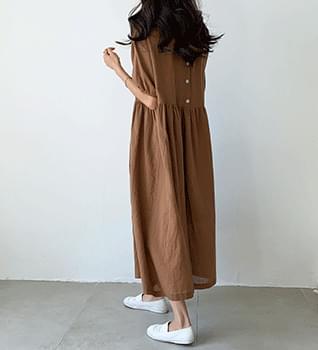 Linen Shirring Dress #37906