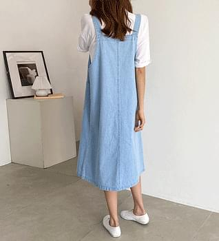 Front Pocket Denim Suspenders Dress #37901