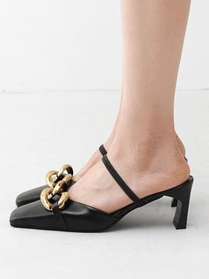 Isshu Square Toe Chain Decoration 2way Mule & Sling Bag Heel Sandal 10938