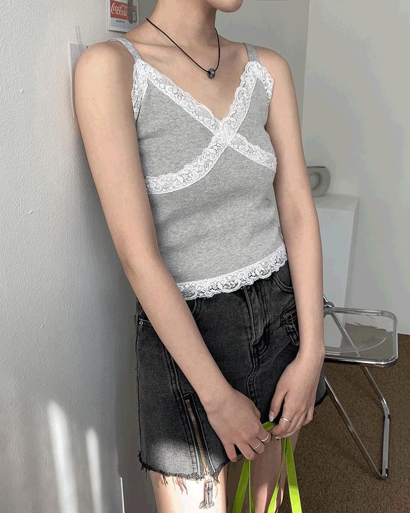 Loving Lace Crop Knitwear Bustier Sleeveless 無袖