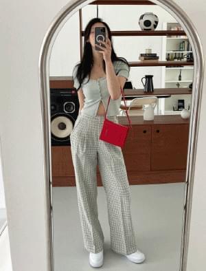 韓國空運 - Croa Wide Check Banding Pants 長褲
