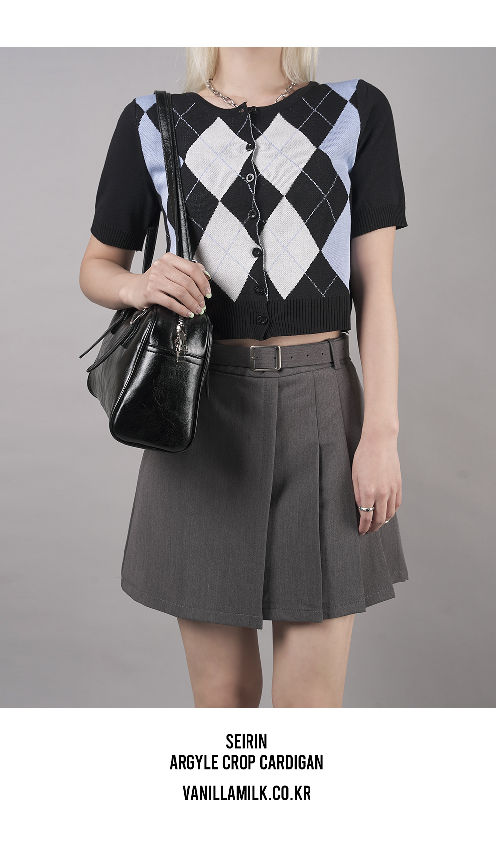 Sailin Argyle cropped short-sleeved cardigan