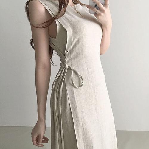 Thin Linen Corset Sleeveless Sleeveless Long Dress 2color