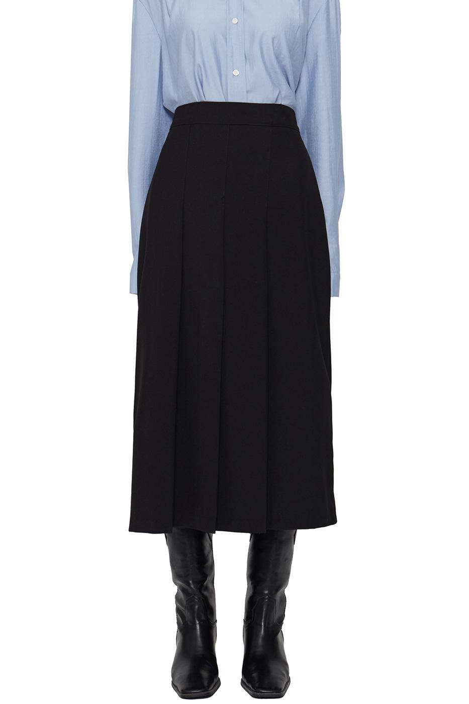 Bubble pleated mid-length skirt