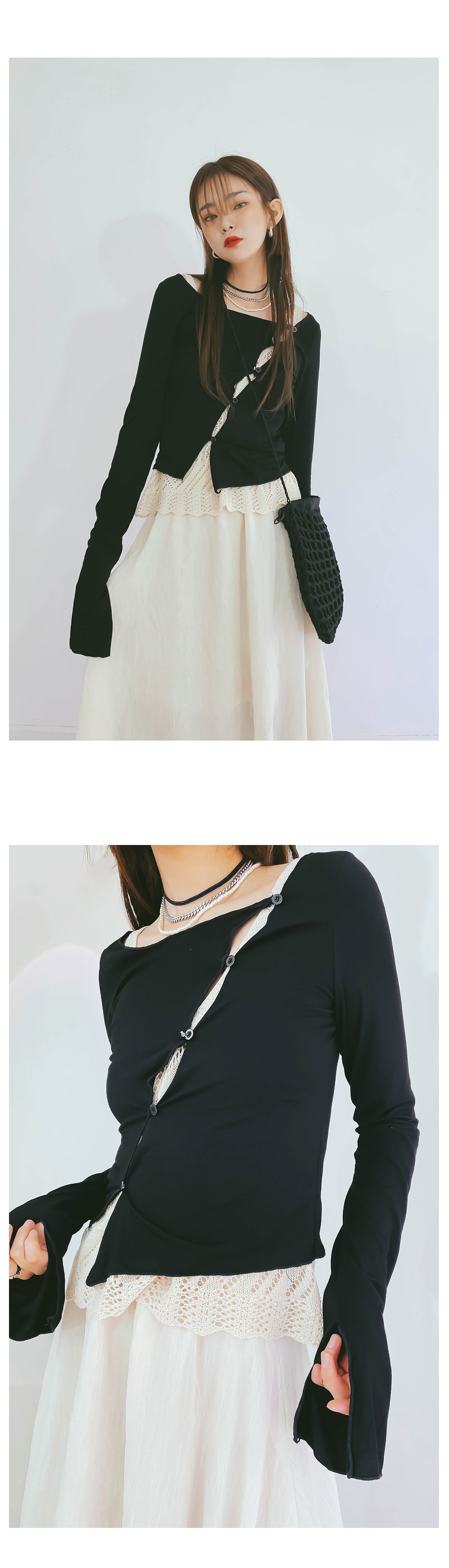Buttoned diagonal T-shirt