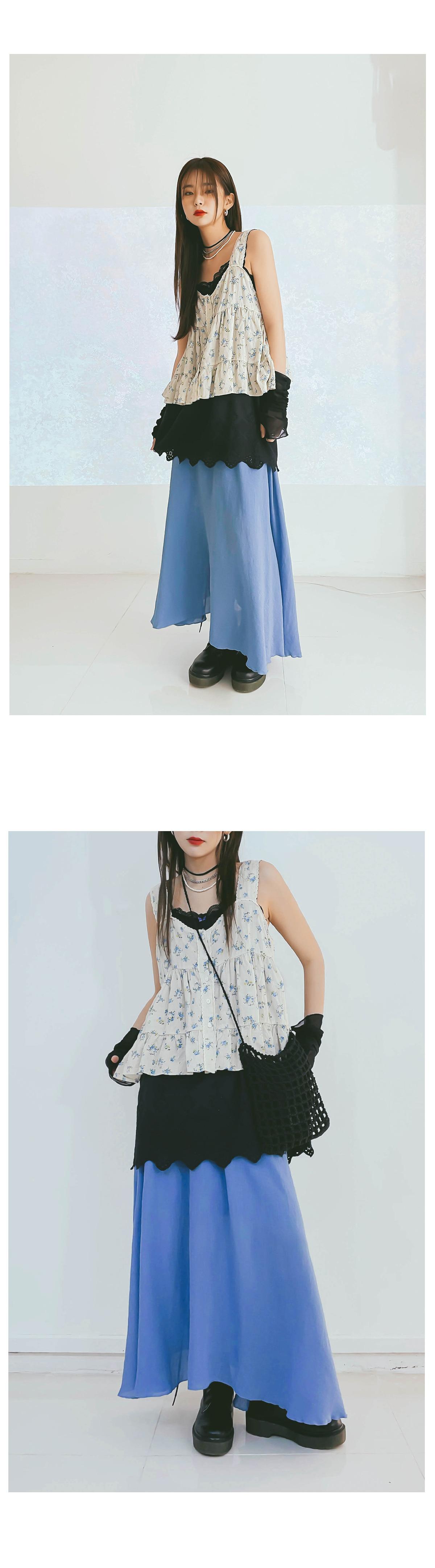 Linen Peach Long Skirt
