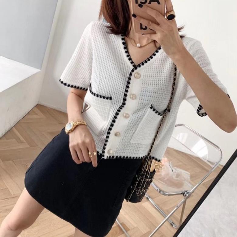 韓國空運 - Classic Line Short Sleeve Knitwear Cardigan 針織外套