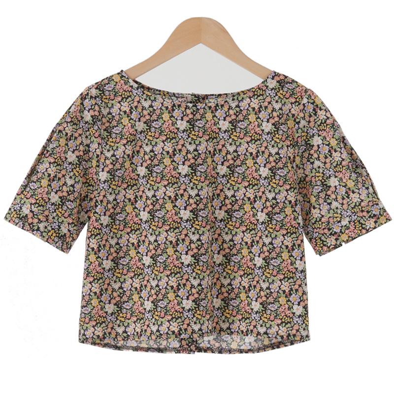 Garden button crop blouse