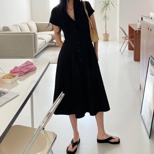From Back Split Flare Long Dress 長洋裝