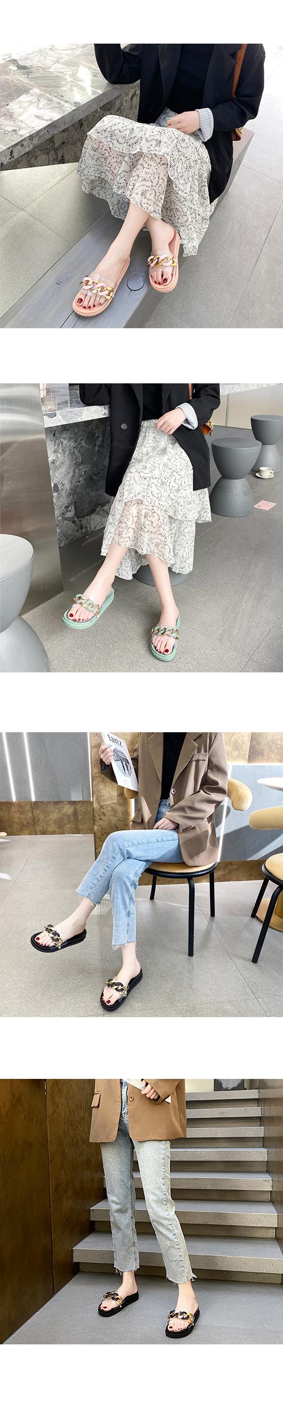Bold Chain PVC Fluffy Slippers Mint