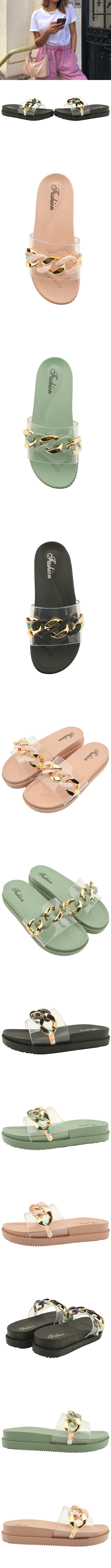 Bold Chain PVC Fluffy Slippers Pink