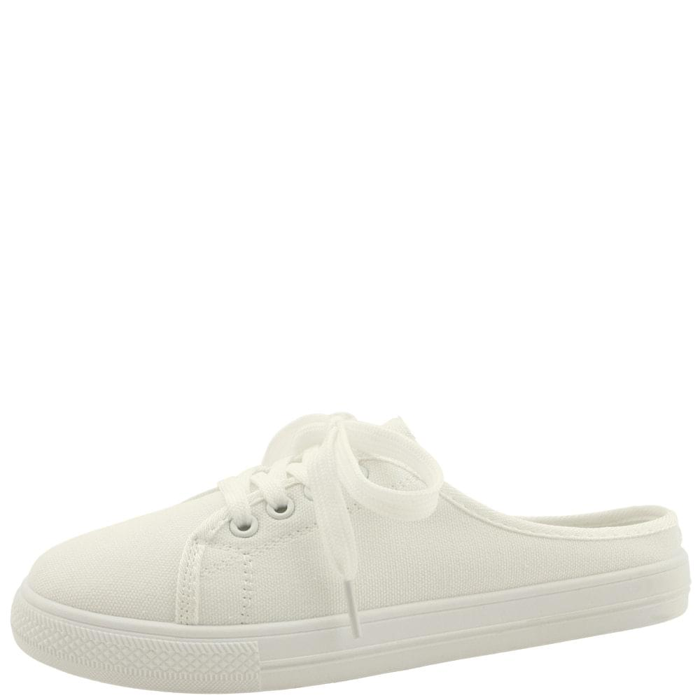 Canvas Shoes Mule Flat Slippers White