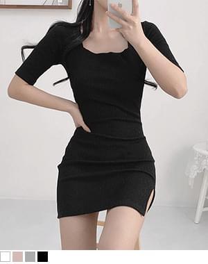 Yoshi Square Neck Split Dress