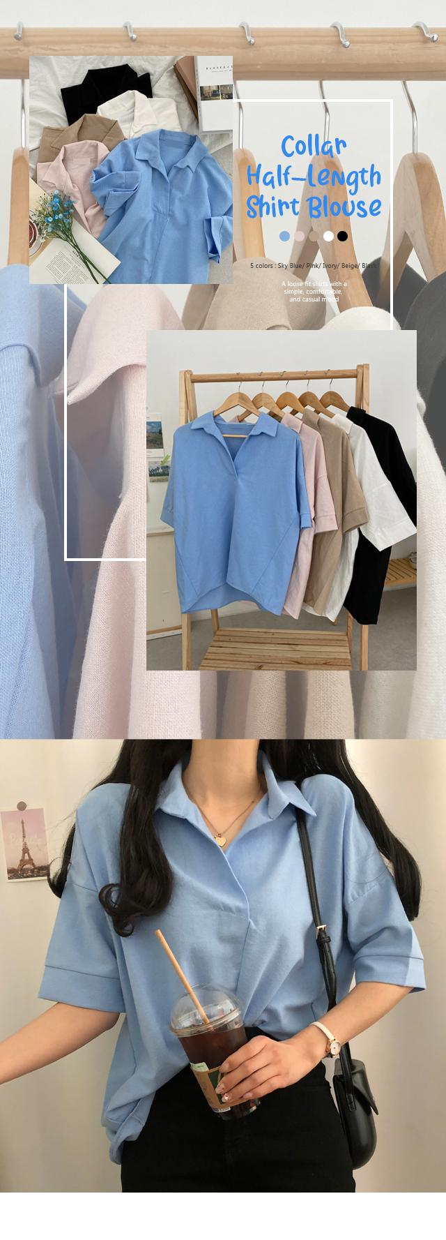 Tutu collar five-piece shirt blouse