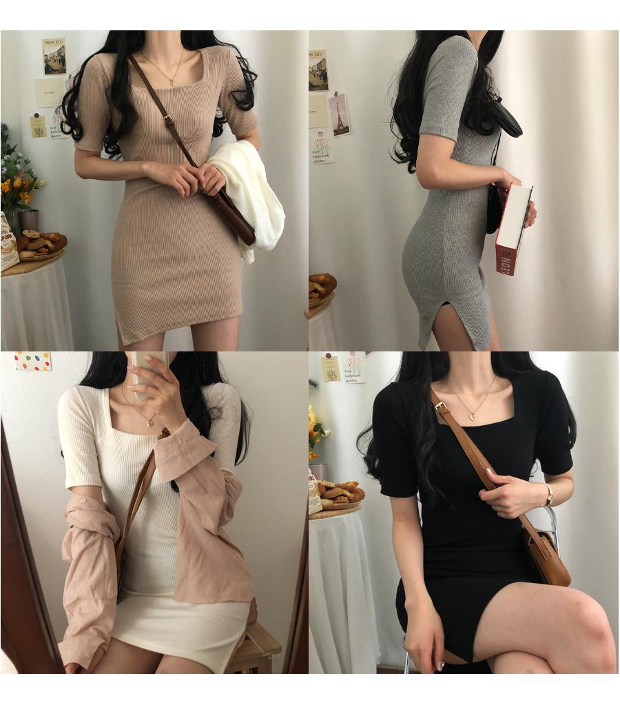 Modelpit Square Neck teuim Ribbed Mini Dress