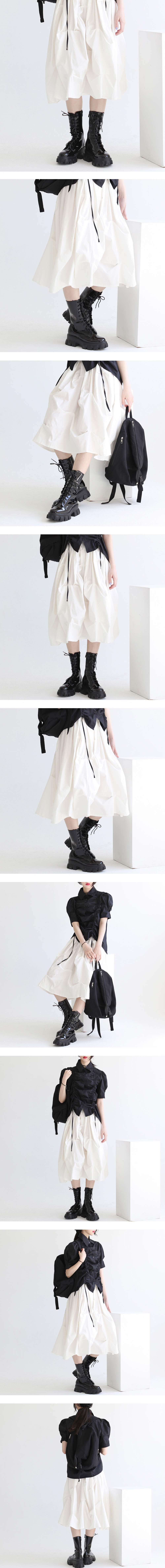 Buffin enamel lace-up walker