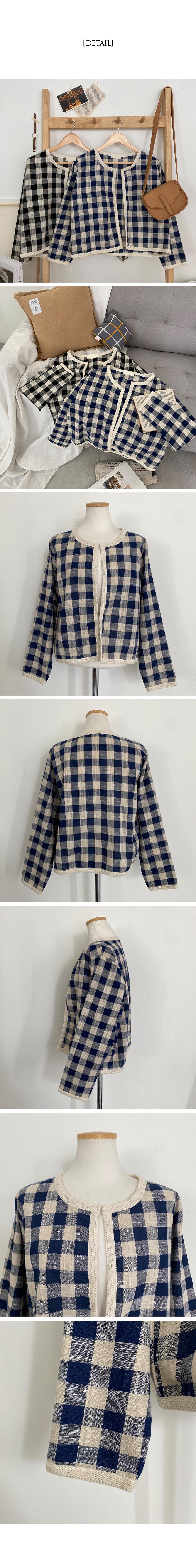 Ebony Gobang Check Linen Cardigan Jacket