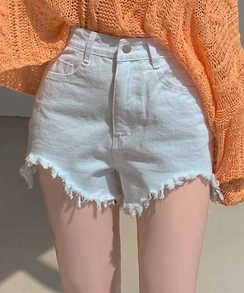 It's Youth Breaking Over 1,000 Hem Frayed Cotton Short Pants Shorts