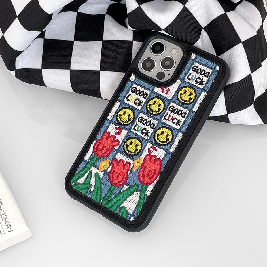 Blue Goodlux Mile Check Embroidered iPhone Case