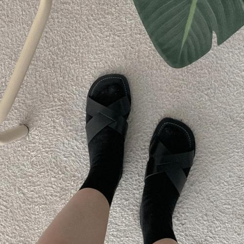 韓國空運 - X字寬帶縫線造型拖鞋 涼鞋