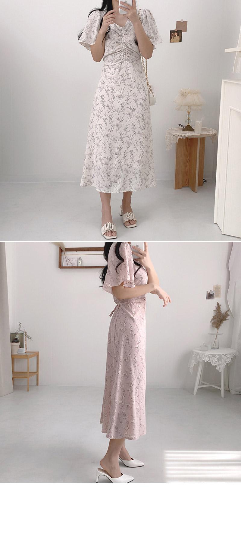 Ash Flower Shirring Long Dress