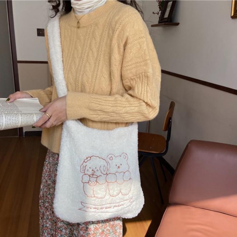 Cutie embroidered pogle tote bag