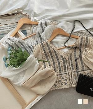 Shizhny knitted embroidered chiffon sleeve blouse